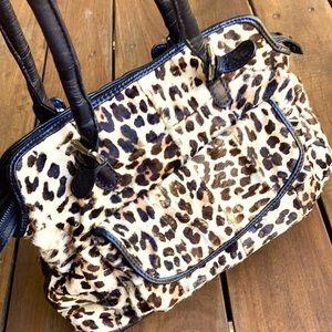 Genuine cowhide and leather leopard skin Shoulder Bag VINTAGE